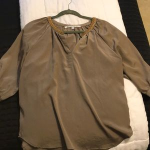Taupe silky blouse with gold beading